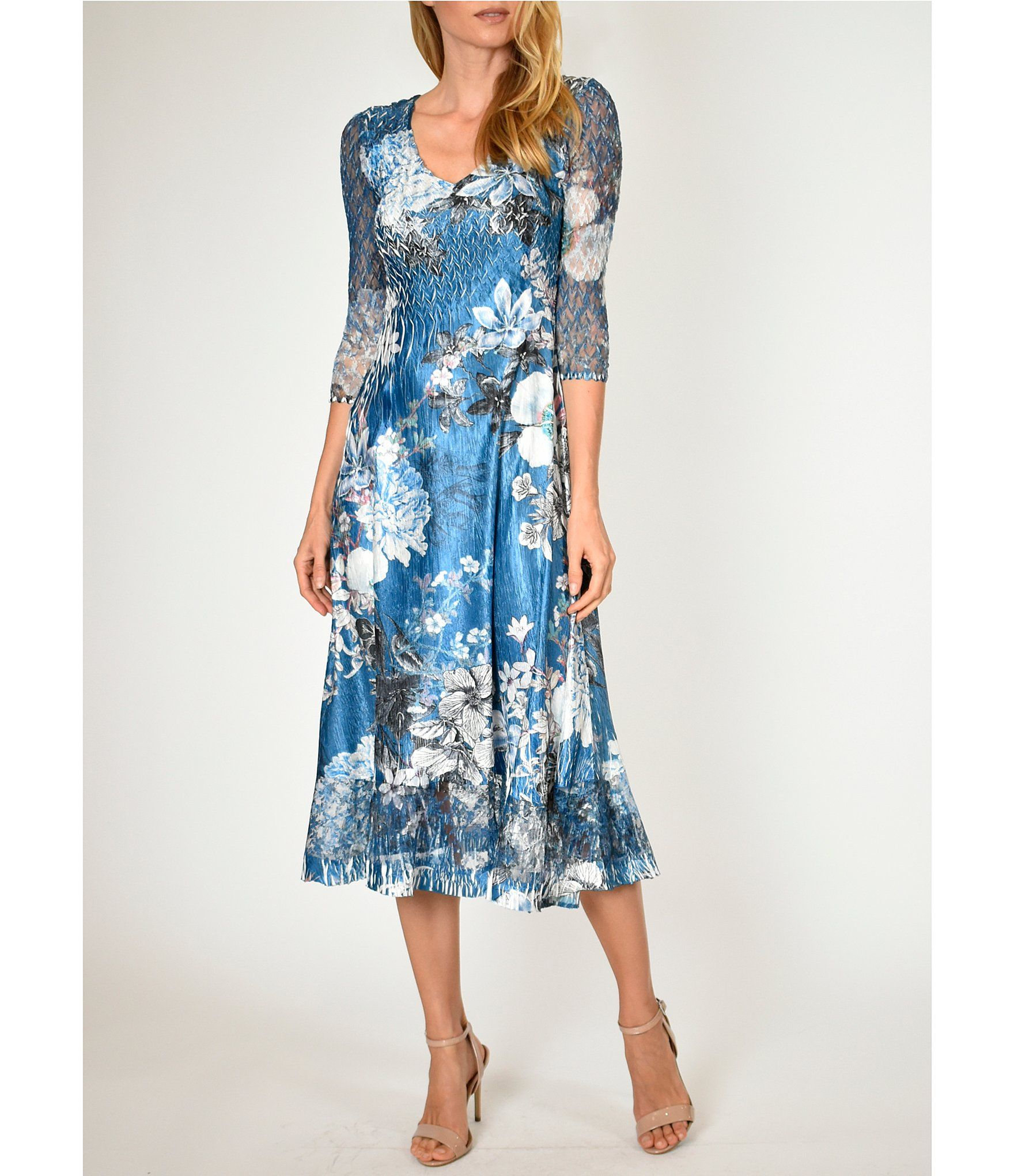 Komarov Bouquet Floral V Neck 3 4 Sheer Sleeve Midi Dress Dillard S Midi Dress With Sleeves Womens Midi Dresses Fashion Clothes Women [ 2040 x 1760 Pixel ]
