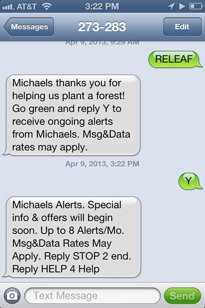 Michaels builds SMS database Messages, How to apply