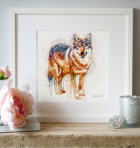 Alpha Wolf Wall Art Watercolor Painting Animal Decor Aquarelle Poster Wildlife Wolves Printable