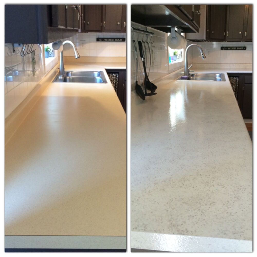 Painted My Countertops With Rustoleum Countertop Coating Lied 2 Coats Of White Paint And Then Sponged On A Light Brown Latex