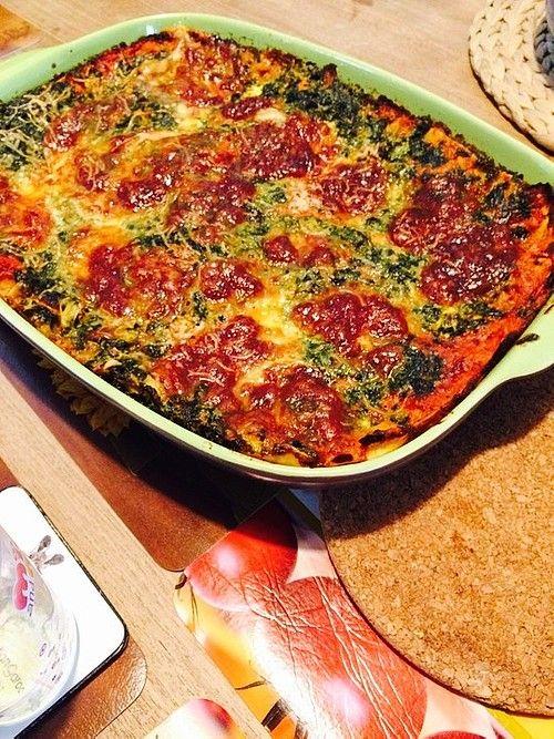 Vegetarische Spinat-Gemüse-Lasagne mit Tomatensoße #spinatlasagne