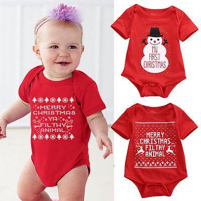 Newborn Baby Girls Boys Christmas Romper Santa Claus Bodysuit