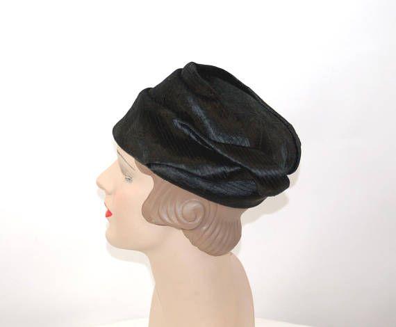 1960s hat Dana Marte  black velvet hat French designer pleated ... c9141ac4d39