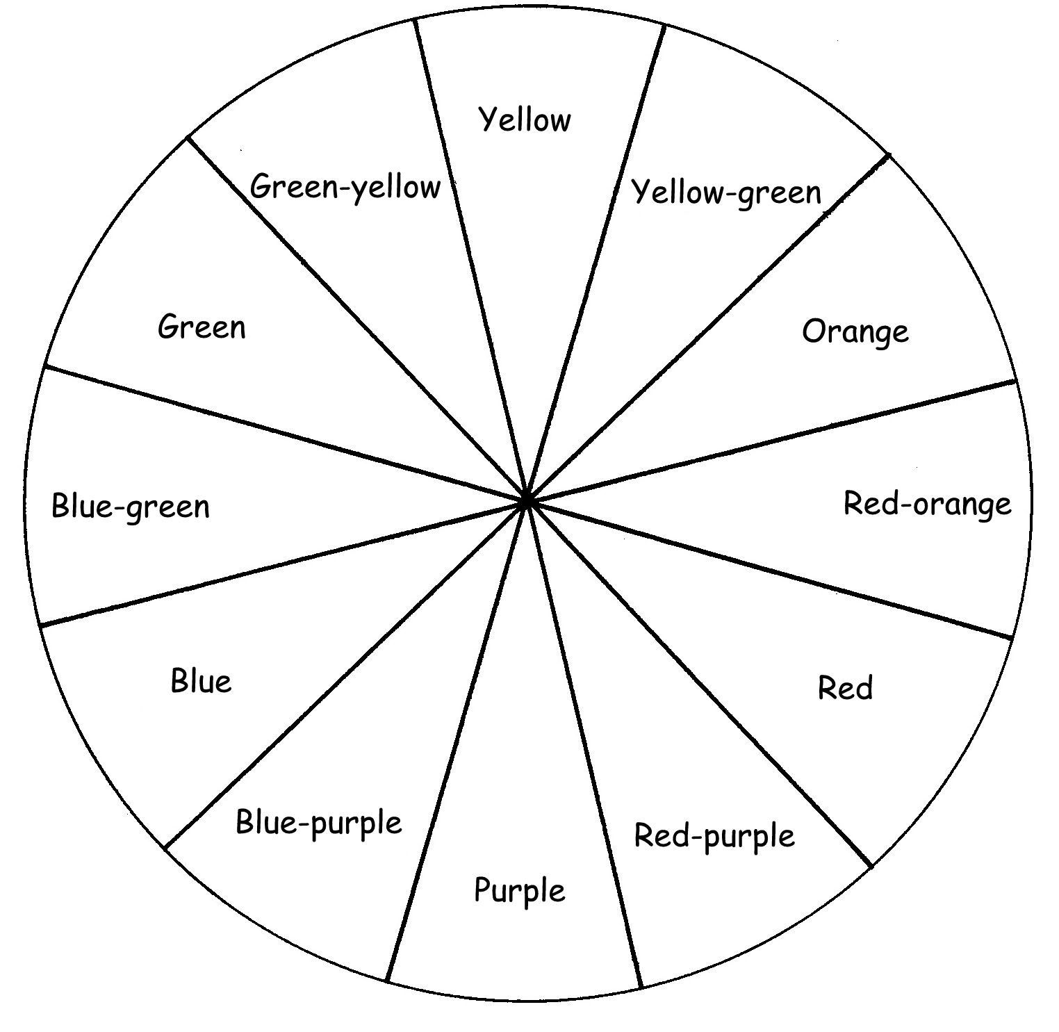 Blank Color Wheel Worksheet In