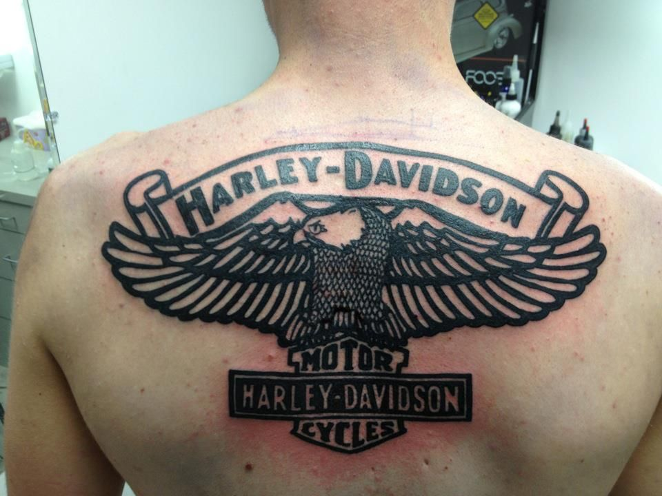 Harley davidson tattoo done by kris at jaded fate for Tattoo shops in fort wayne