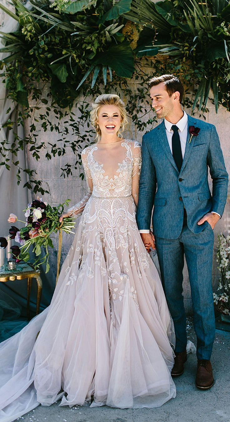A Modern Take On A Traditional Long Sleeve Wedding Dress Sheer