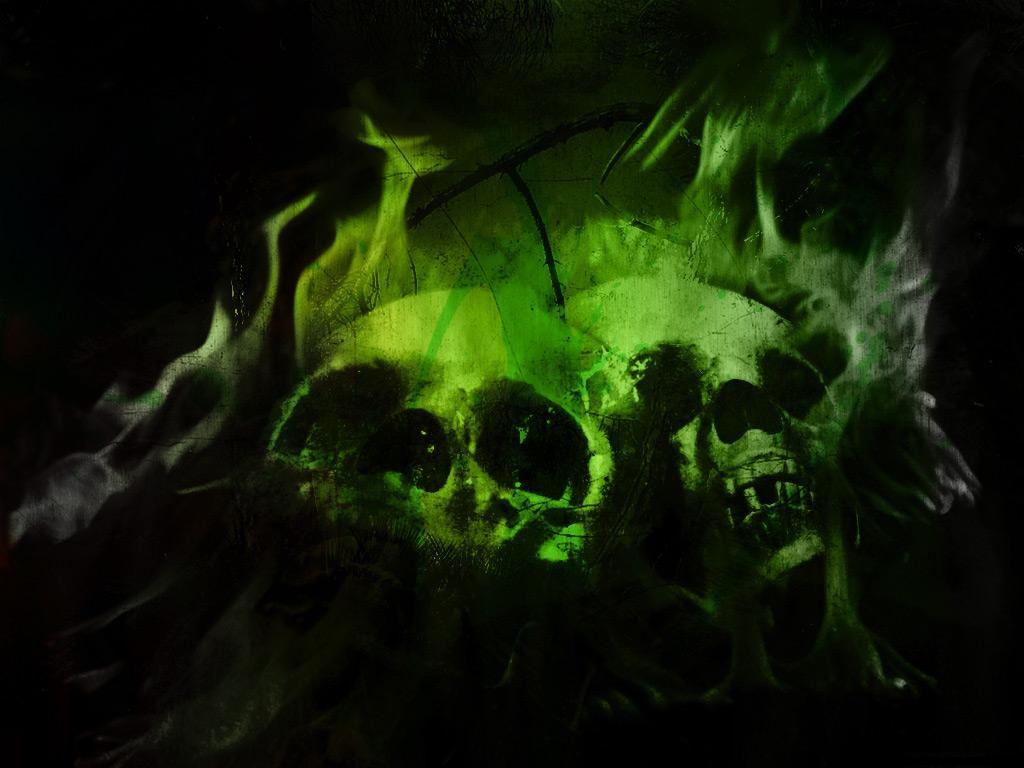 Green Flaming Skulls
