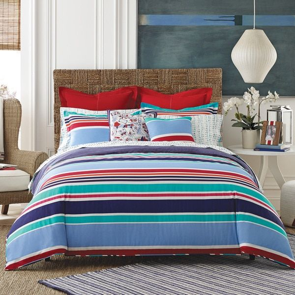 tommy hilfiger dunmore 3 piece striped cotton comforter set chalet ensembles literie idees