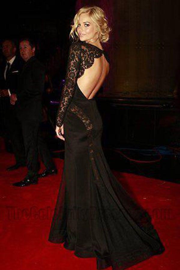 Samara Weaving Sheer Black Open Back Long Sleeve Evening Dress Logie Awards f0578a5227e5