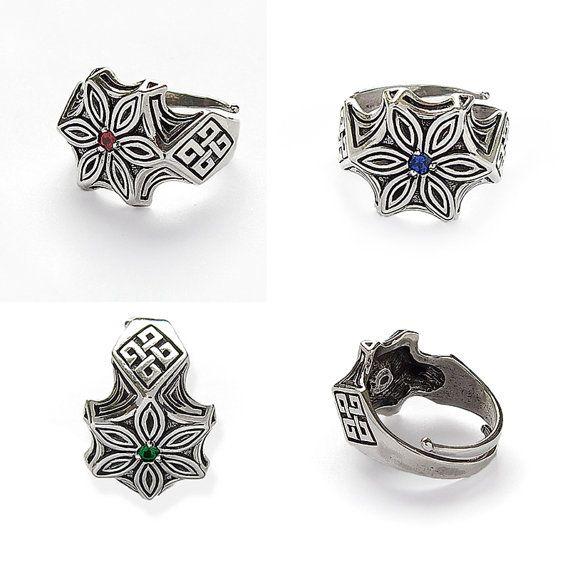 Sterling Silver ring Perun Flower. Slavic jewellery. от RuyaN