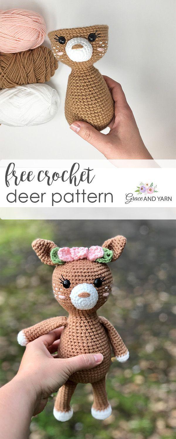 Free Crochet Deer Fawn Pattern - Stricken ist so einfach wie 1, 2, 3 Das Stricke...