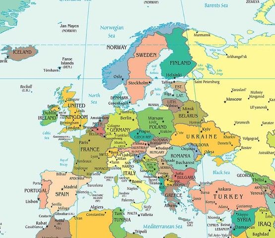 Map of modern day Europe, Corsica is southeast of France and ...