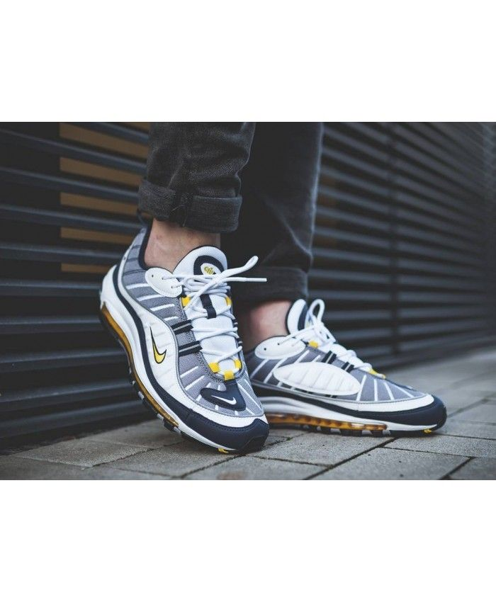 Nike Air Max 98 Trainers In Blue White Yellow   Sneakers men ...