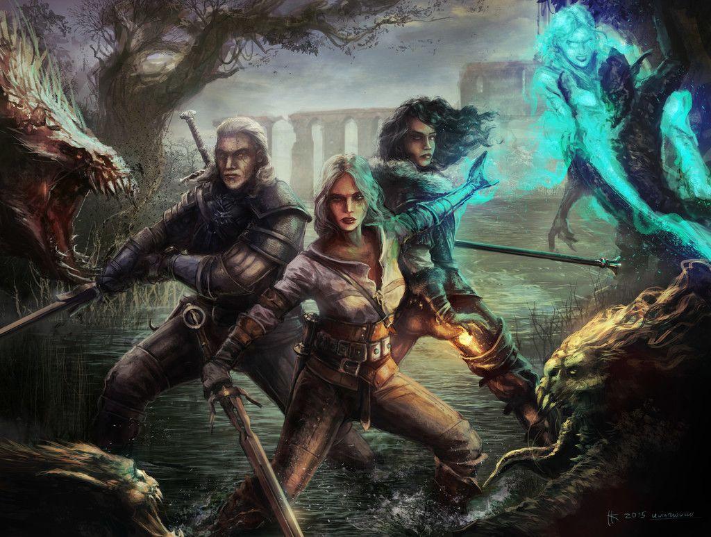 The Witcher 3 Wild Hunt Geralt Yen And Ciri Art Wallpaper The