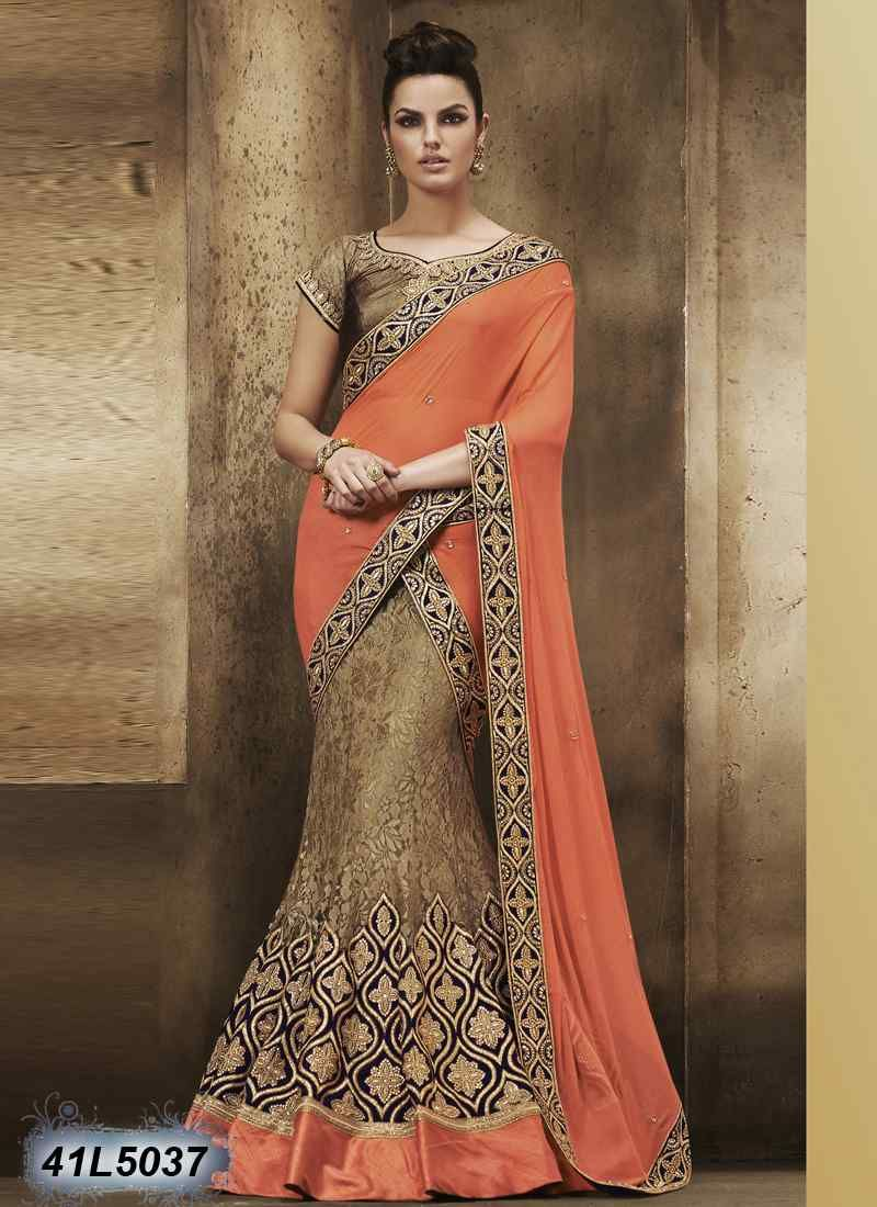 4988152ea412a6 Beautiful Copper Colour Raschel Net Lehenga Choli