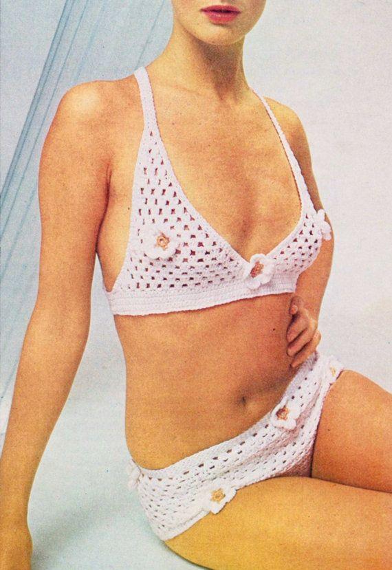 Vintage 70s Crocheted BIKINI PDF Pattern Swim by KinsieWoolShop, $3.20