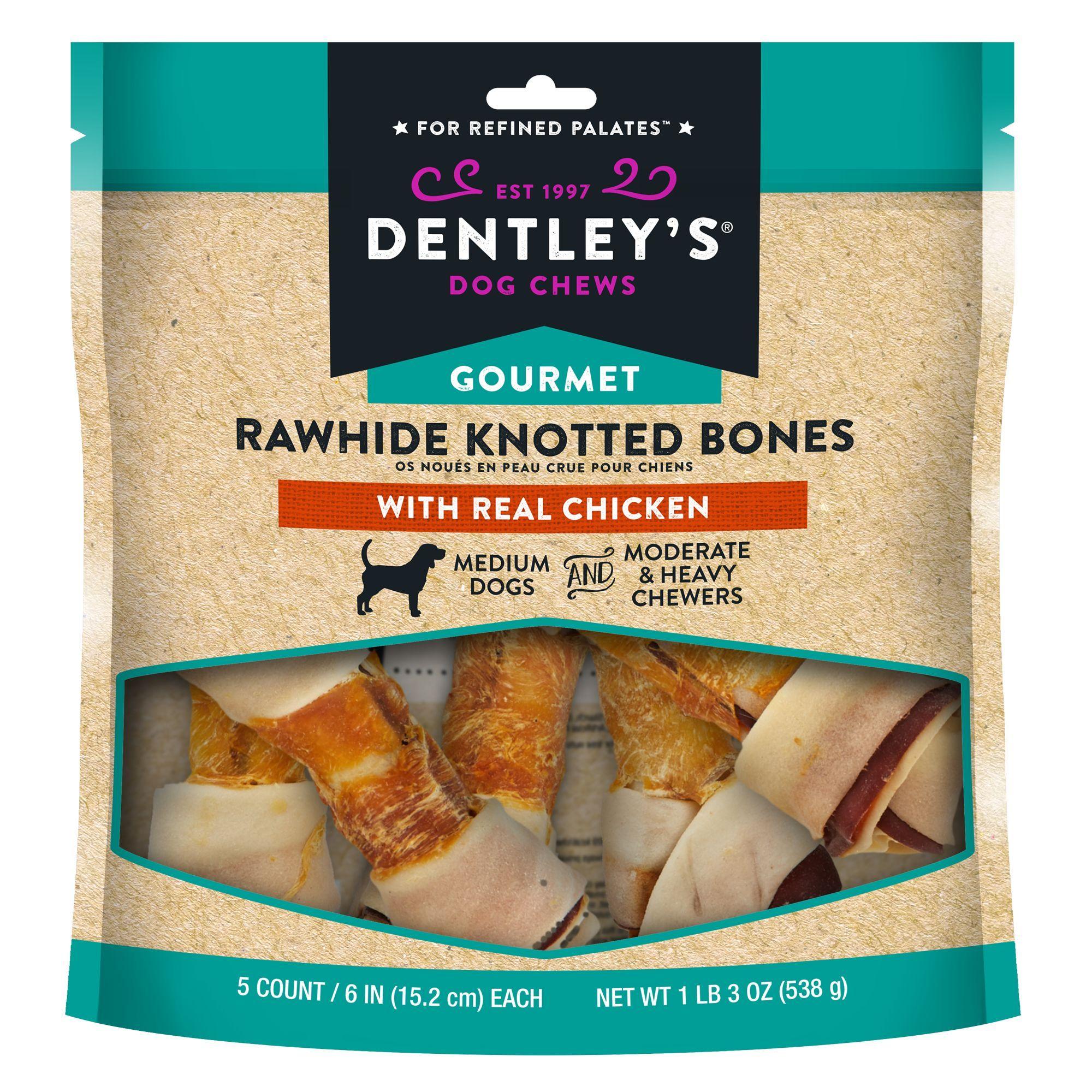 Dentley S Gourmet Rawhide Knotted Bones Dog Treats Chicken