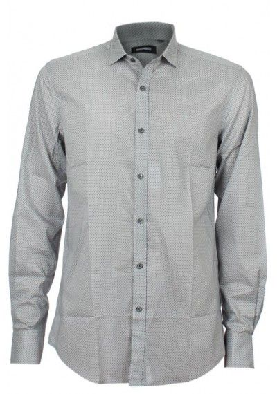 Antony Morato | Mens Polka-Dot Popeline Cotton Pearl Grey Shirt with contrasting collar and metal logo on the back shoulder. Once crafted the shirt is treated so to obtain a stylish wrinkled effect.