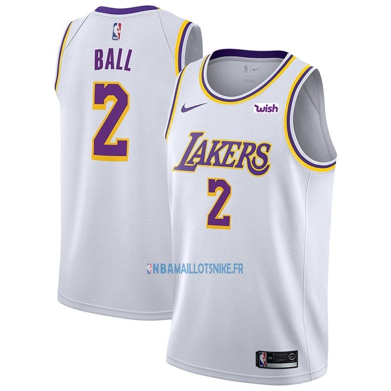 e62b53bbe02 Maillot NBA Nike Los Angeles Lakers NO.2 Lonzo Ball Blanc 2018-19 ...