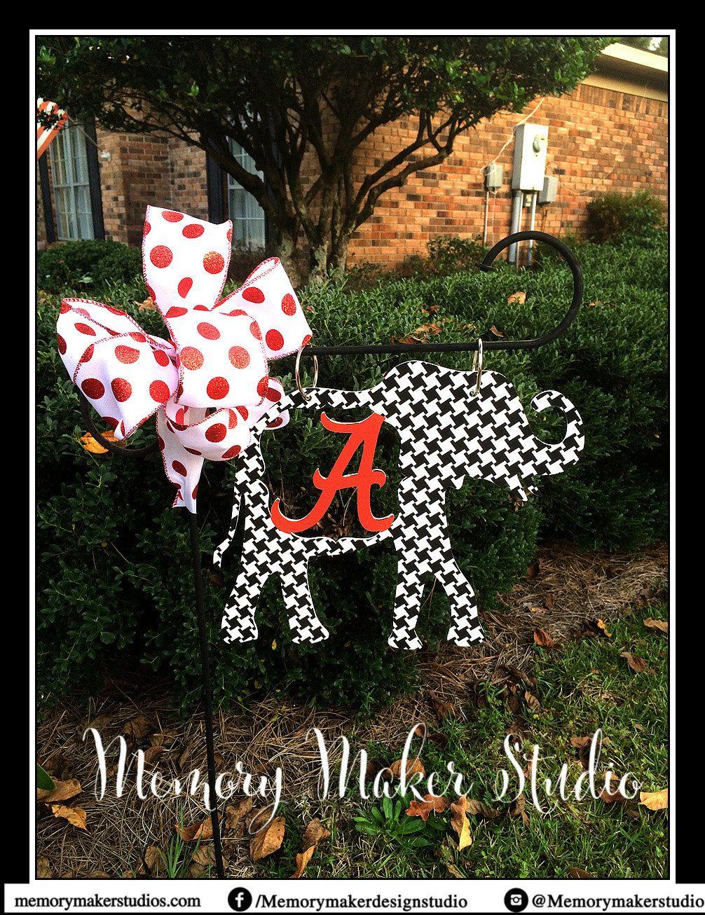 Delightful Alabama Houndstooth Elephant Lawn And Garden Flag, Houndstooth Garden Flag,  Houndstooth Yard Flag,