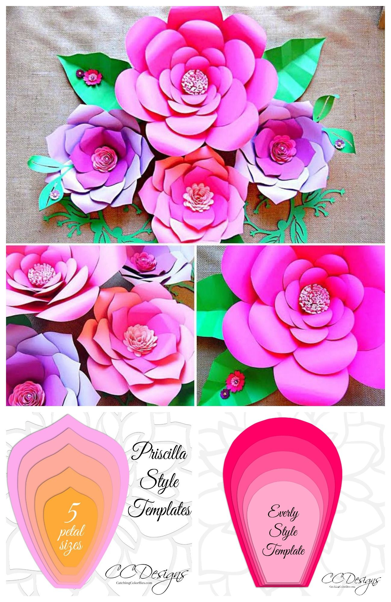 Easy Giant Paper Flower Templates - Printable PDF and SVG Flower Templates