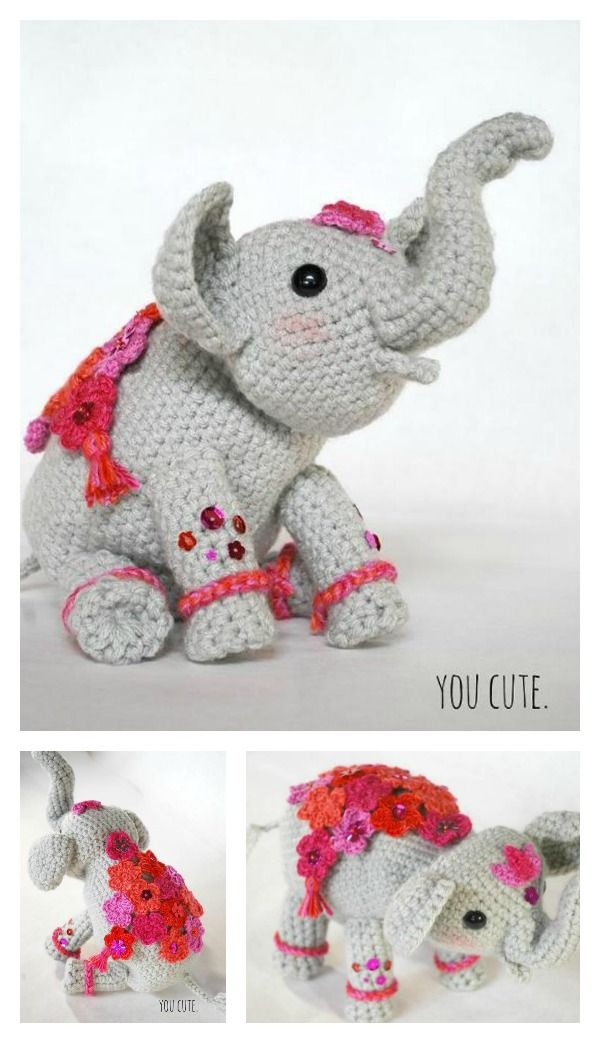 Adorable Crochet Elephant Amigurumi Free Patterns | Amigurumi, Free ...