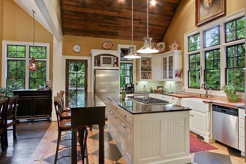 Country Kitchen With Brookside Brushed Nickel Pendant By Progress Lighting,  Athens Raised Panel Cabinets