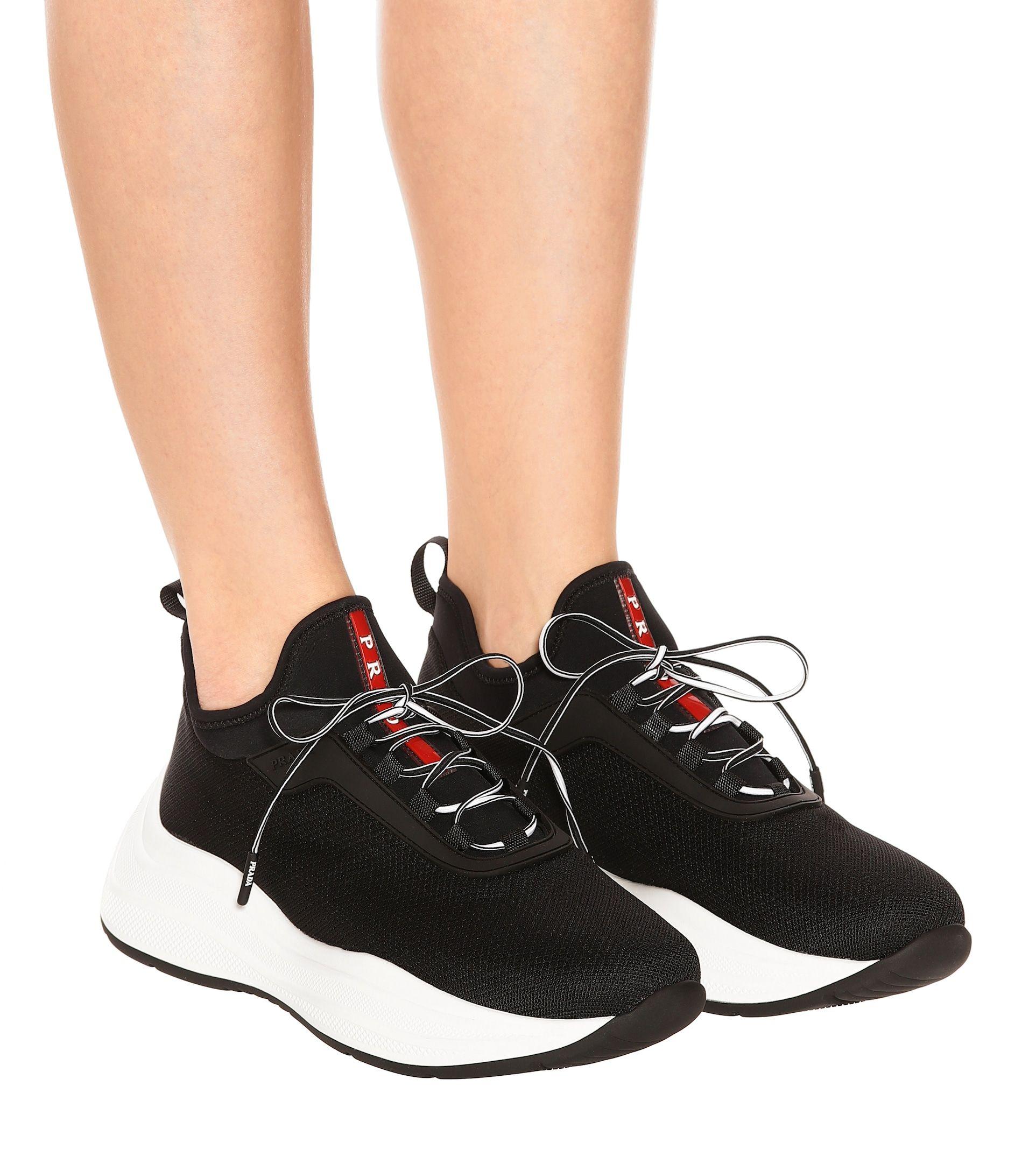 Prada - Mesh and neoprene sneakers