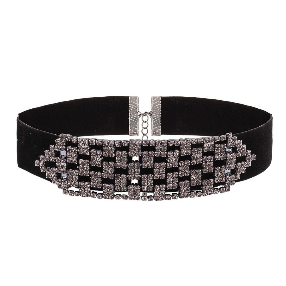 New Rhinestone choker necklaces for women wide crystal choker 2017 black  chocker big Collar Jewelry for Women 33be54ae3b65