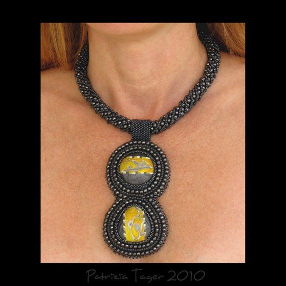JL  OOAK  Gunmetal and Yellow Bead Embroidered Necklace by Triz Designs