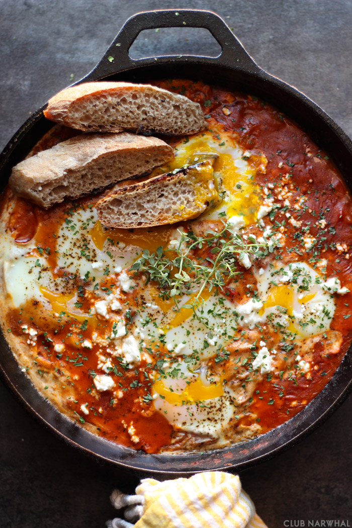 Mediterranean Baked Eggs feature fresh eggs baked in delicious Prego Italian…