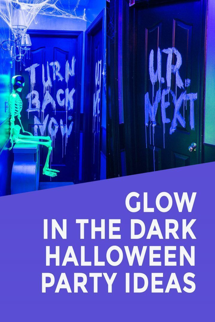These Diy Glow In The Dark Halloween Party Decorations Are Awesome They Re Easy To Make And Look So Cool Entertainingdiva Halloweendecor Diyhalloween Hall In 2020