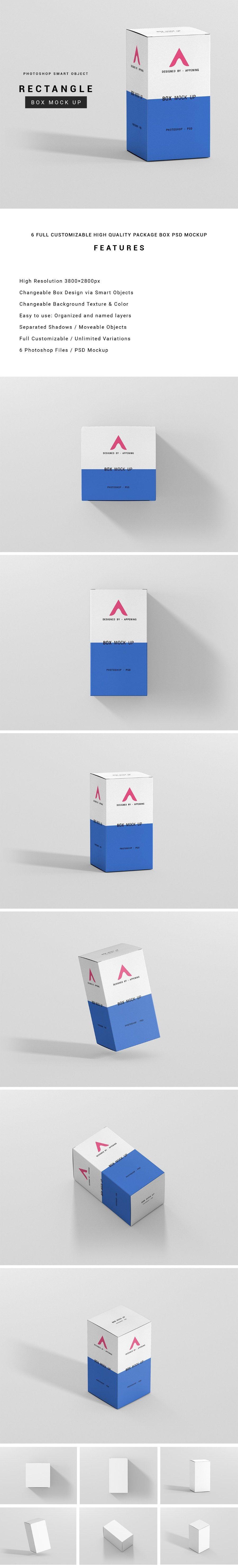 Download Free Rectangle Box Mockup | Free packaging mockup, Box ...