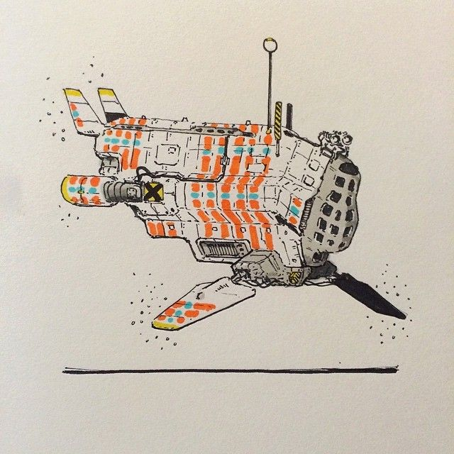 Mule Recon Sub 61/100 #sketch #sketchaday #sketchbook #biomimicry #pensketch #sharpie by gregory_aich