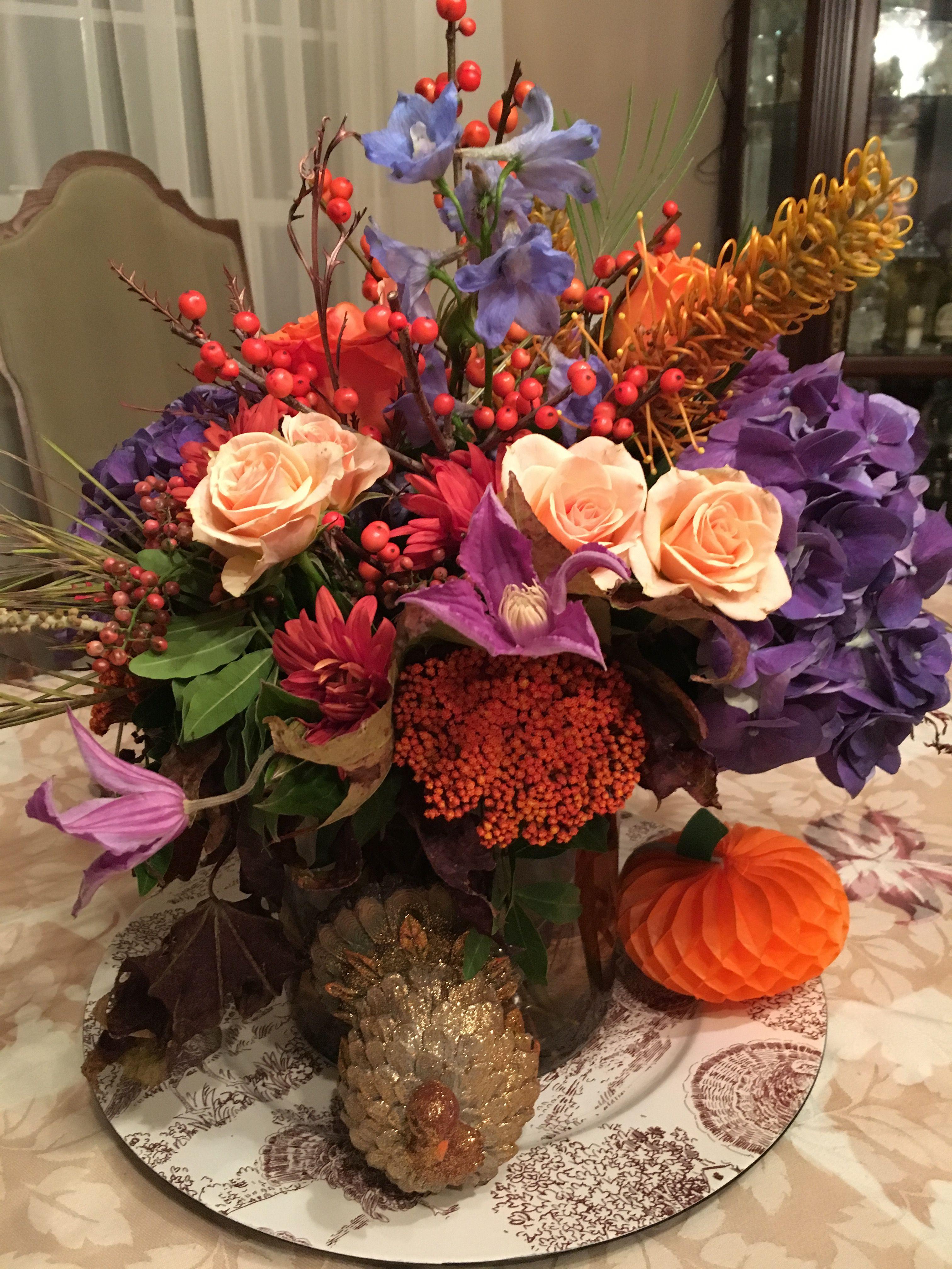 Thanksgiving Centerpiece Deep Purple Orange And Peach Flowers Peach Flowers Thanksgiving Centerpieces Centerpieces