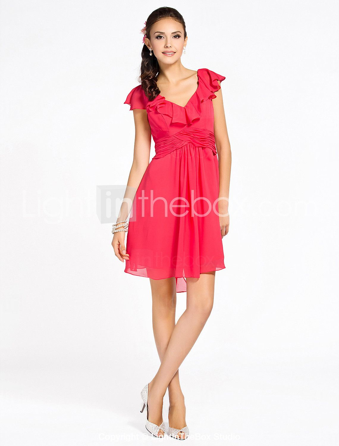 Lan ting bride kneelength vneck bridesmaid dress short sleeve