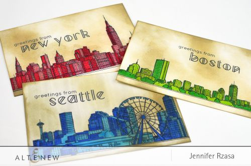 For these post cards, the New York and Boston skylines from our Sketchy Cities America set, along with the Seattle skyline from Sketchy Cities America 2, were stamped onto cardstock.  Then, they were colored in with Copic Markers. Altenew www.altenew.com