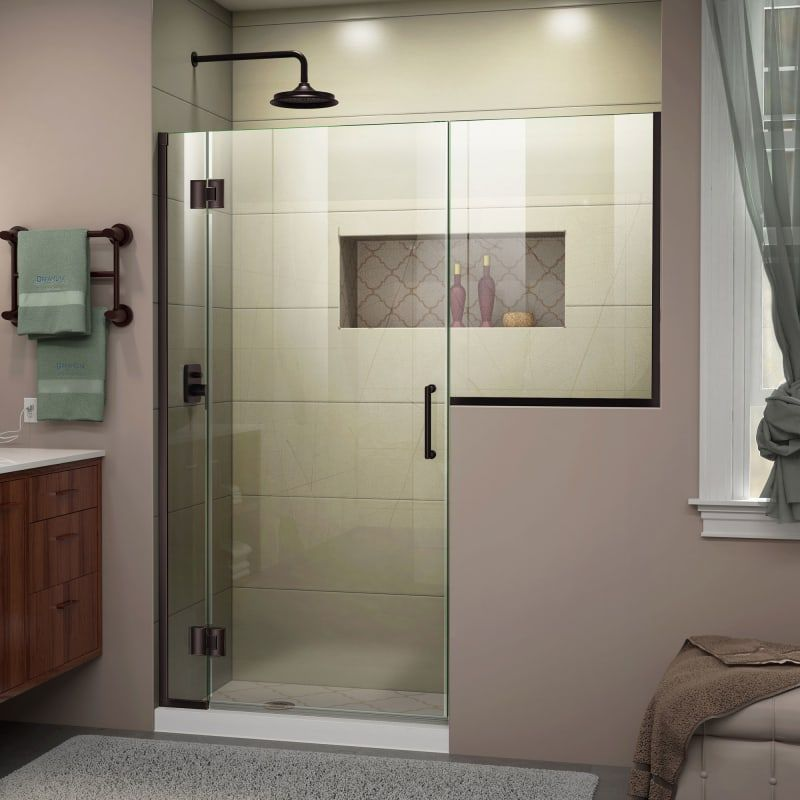 "DreamLine D1293634-06 Oil Rubbed Bronze Unidoor-X 72"" High x 71-1/2"" Wide Hinged Frameless Shower Door with Clear Glass"
