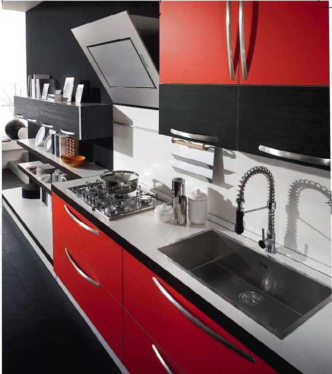 Mi cocina roja con piso negro o blanco kitchens red for Cocinas en blanco y negro