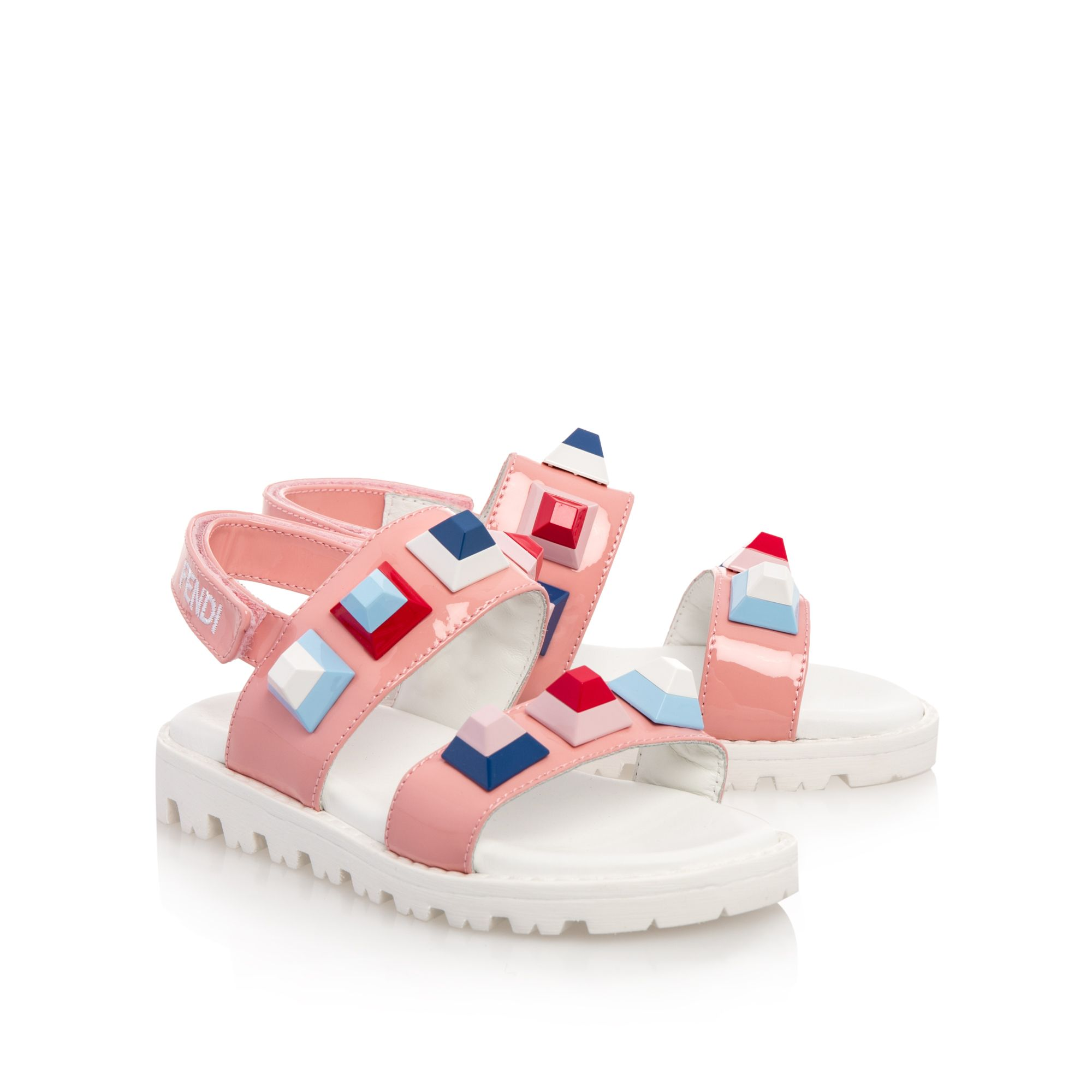 Girls Studded Patent Sandals Pink by Fendi | Girls