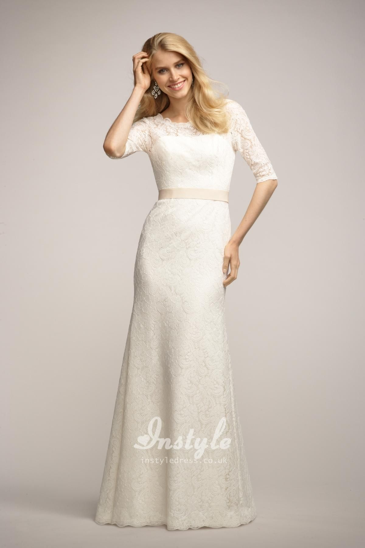 Boat Neck Ivory Lace Long Bridesmaid Dress Uk With 3 4 Length