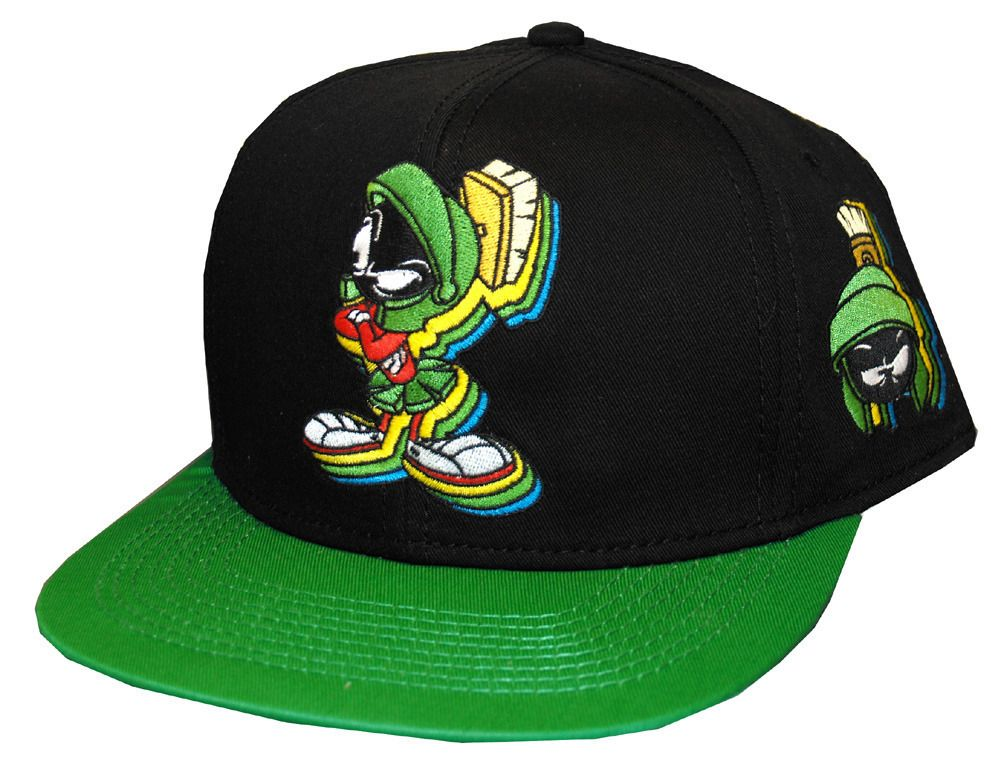 a236b95f162 Marvin The Martian Looney Tunes Patch Cartoon Snapback Flat Bill Hat Cap