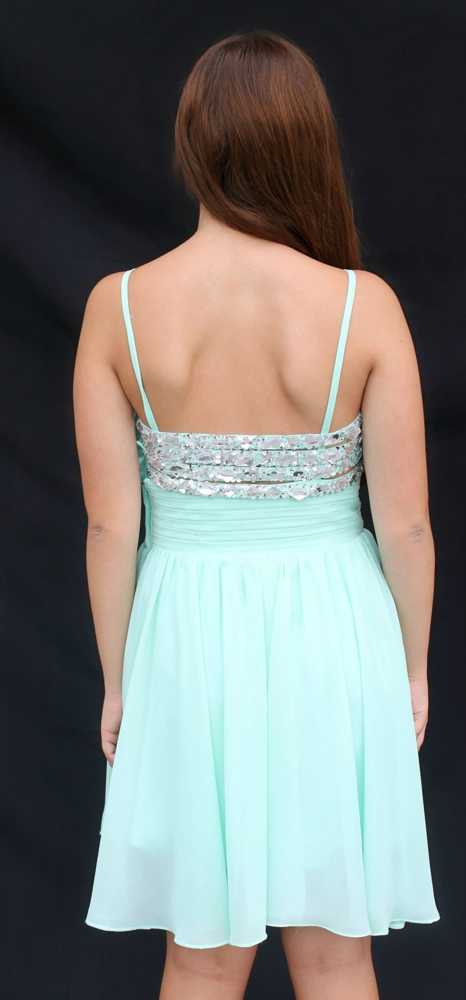 Back of mint new short homecoming dress! Available for rent at ...