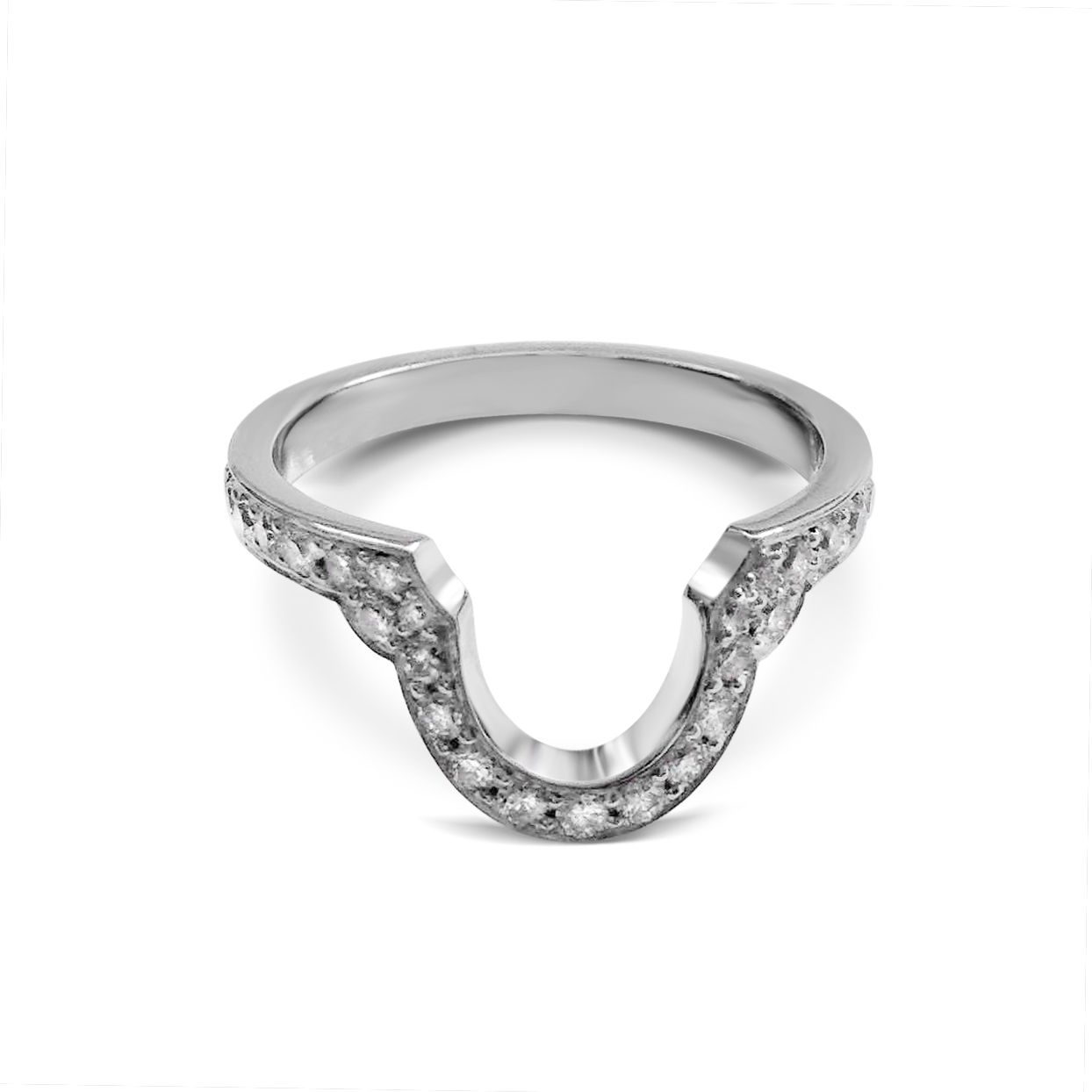 Bespoke Shaped Diamond Thread And Grain Set Wedding Band Mounted In Platinum Made To