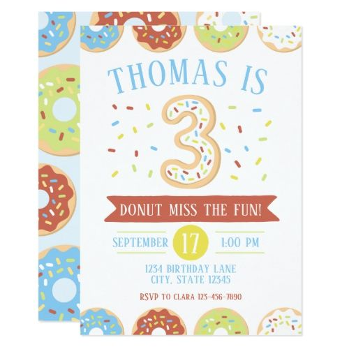 donut third birthday invitation in 2018 donut birthday party