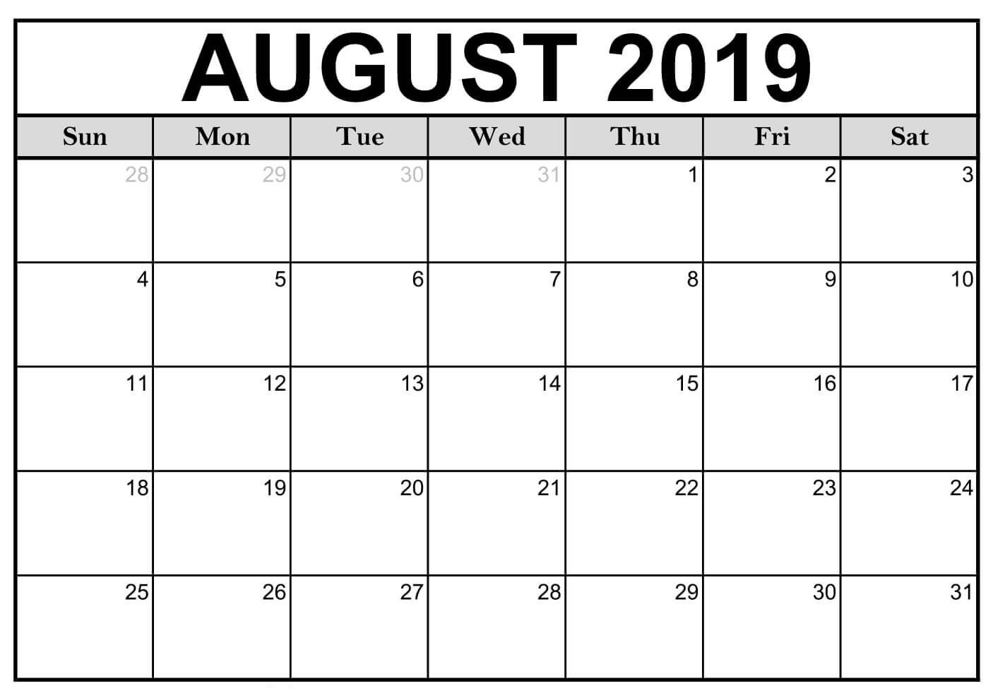 photograph regarding Free Printable Calendar August known as Blank August 2019 Calendar Printable #editable #templates