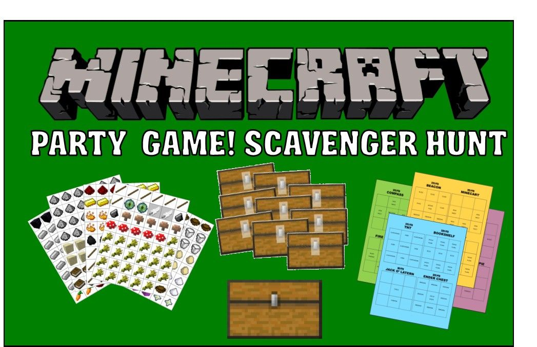 Minecraft Party Game Printable Scavenger Hunt Minecraft Party