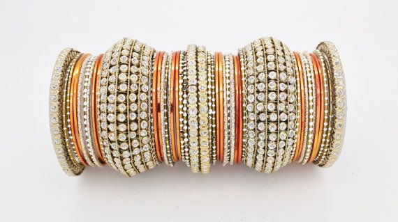 44 Orange Gold Silver Diamante Indian Bangles Indian Churi Bollywood Kangan Mirror work Bridal Wedding Party Indian Churis Bracelets