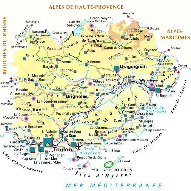Carte Departement Du Var 83 Departements Francais Alpes De