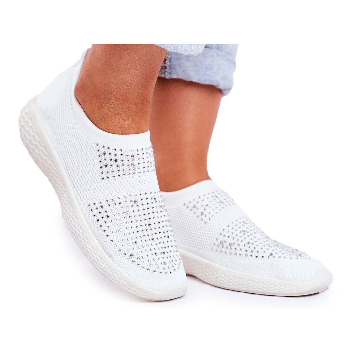 Ps1 Damskie Sportowe Obuwie Wsuwane Biale Z Cyrkoniami Sidonim Wedding Sneaker Shoes Wedding Shoe